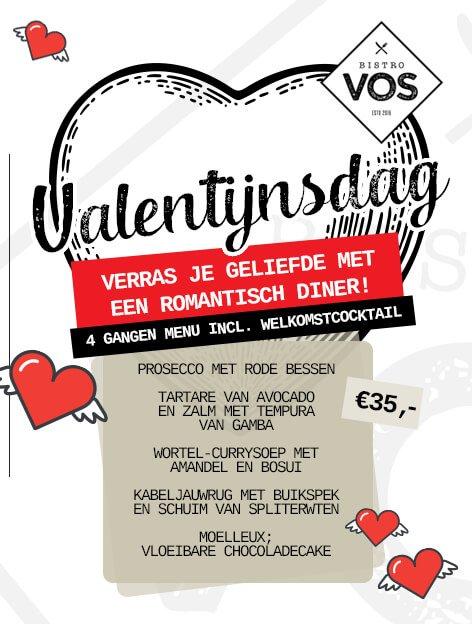Valentijnsmenu Bistro VOS - Restaurant Hilversum